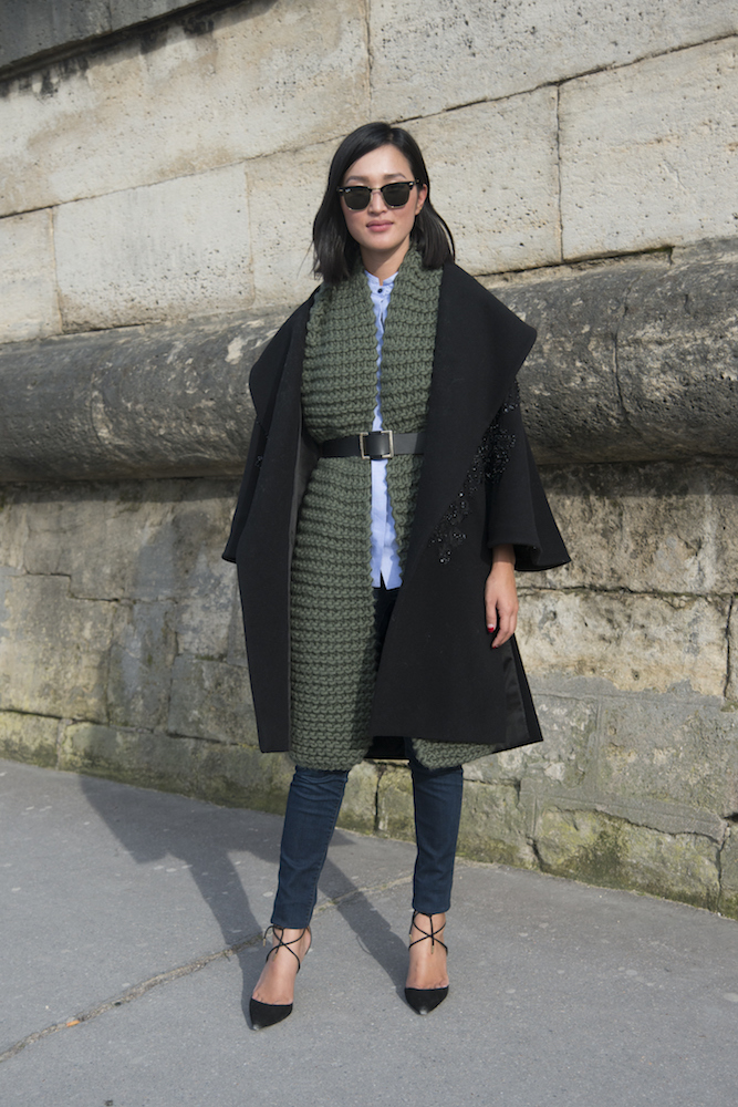 PARIS, FRANCE - MARCH 07: Fashion blogger Nicole Warne wears J Brand jeans, Manning Cartell top, I Love Mister Mittens scarf, Elie Saab jacket, Aquazzura shoes and Ray Ban sunglasses on day 5 of Paris Collections: Women on March 07, 2015 in Paris, France. (Photo by Kirstin Sinclair/Getty Images)