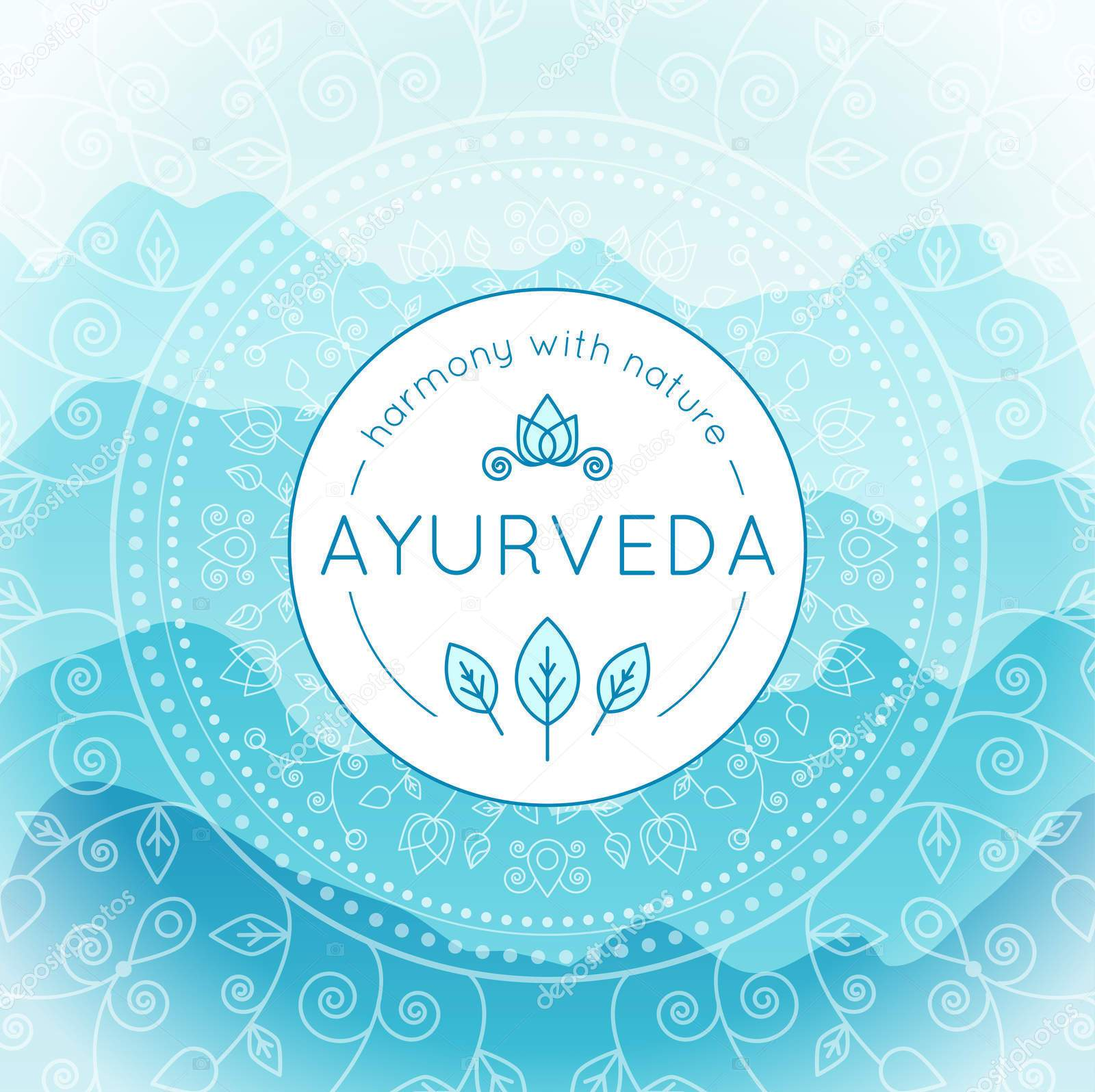 Vector Ayurveda illustration with mountains landscape, ethnic patterns and sample text in light blue colors for use as a template of banner, backdrop or poster for ayurveda medicine center or product.
